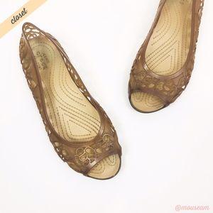 [Crocs] Tan Isabella Jelly II Peep Toe Flats